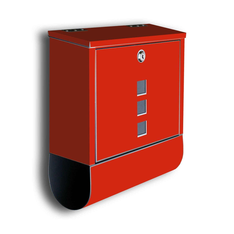 briefkasten uni rot mit zeitungsrolle mit deco motiv. Black Bedroom Furniture Sets. Home Design Ideas