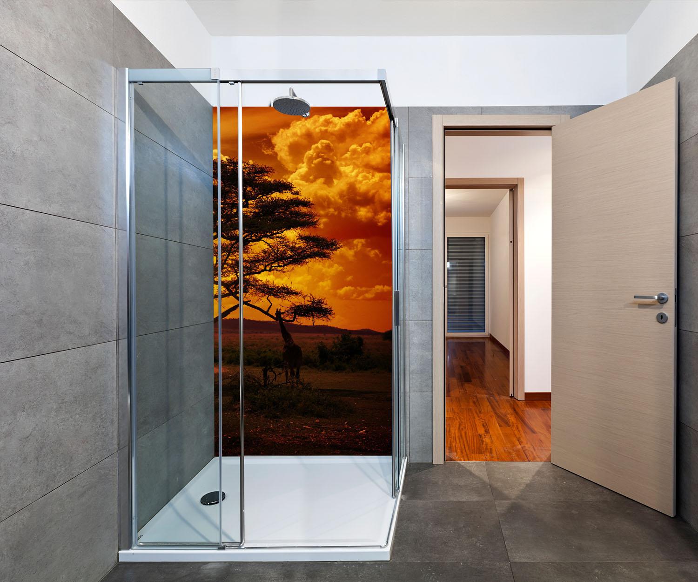 duschr ckwand afrika sonnenuntergang deko design ebay. Black Bedroom Furniture Sets. Home Design Ideas