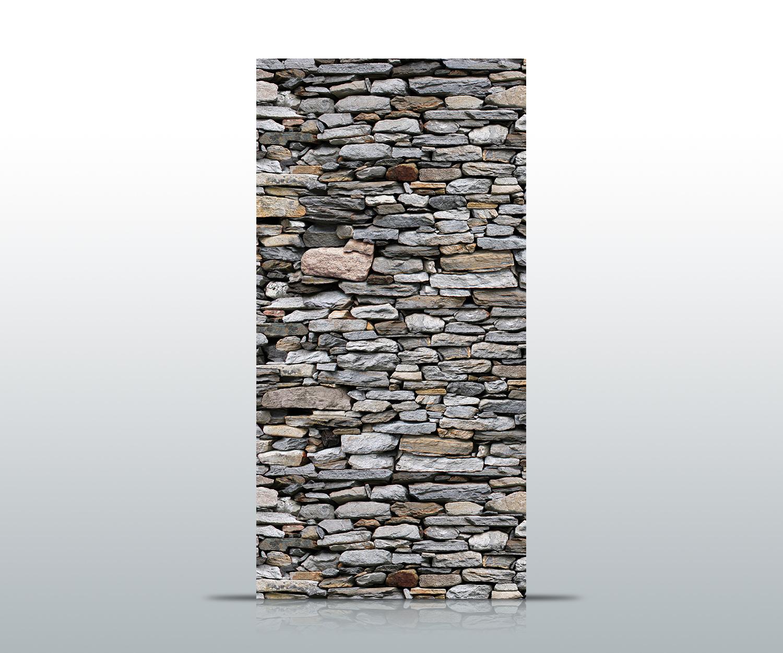 T rtapete steinmauer grau tapete kunstdruck t rbild ebay for Steinmauer tapete