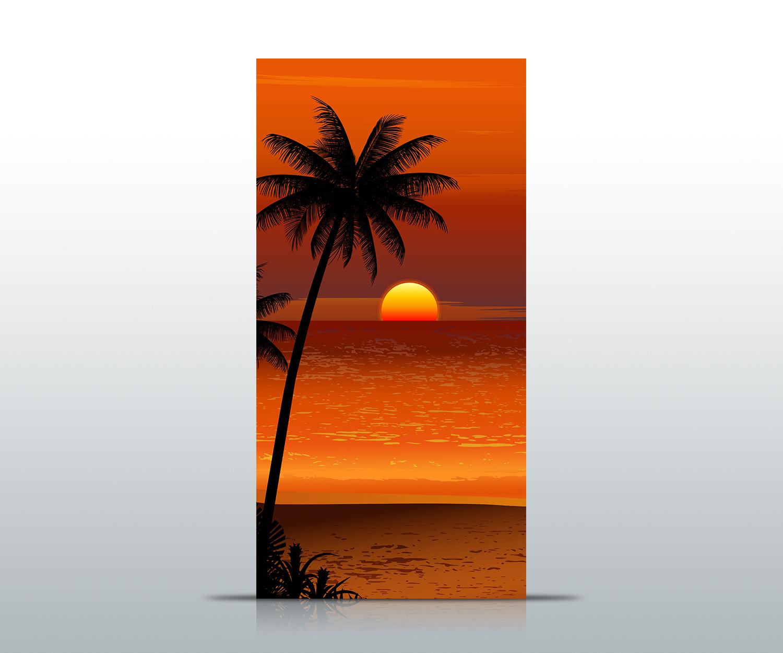 Türtapete Beach Sunset Tapete Kunstdruck Türbild