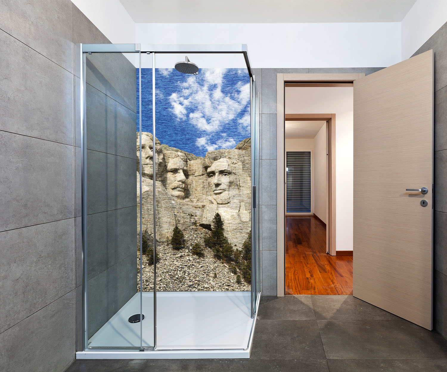 duschr ckwand mount rushmore amerika deko design ebay. Black Bedroom Furniture Sets. Home Design Ideas
