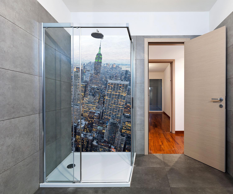 duschr ckwand new york skyview deko design ebay. Black Bedroom Furniture Sets. Home Design Ideas