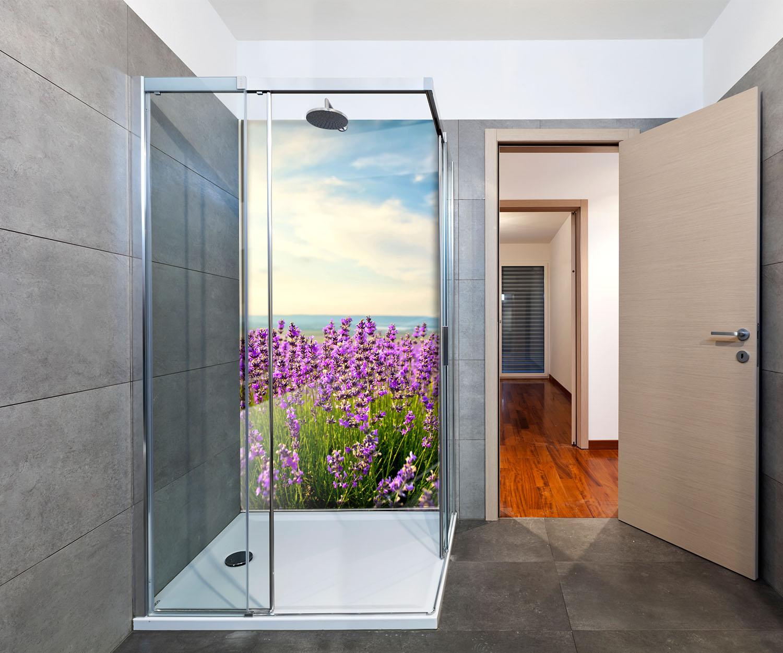 duschr ckwand lavendel deko design ebay. Black Bedroom Furniture Sets. Home Design Ideas