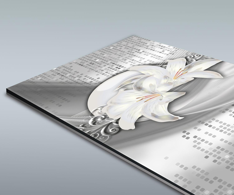 duschr ckwand abstrakte lilien grau silber deko design ebay