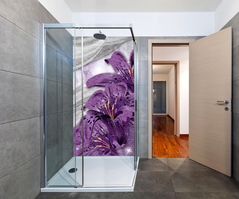 duschr ckwand lilie lila abstrakt deko design ebay. Black Bedroom Furniture Sets. Home Design Ideas