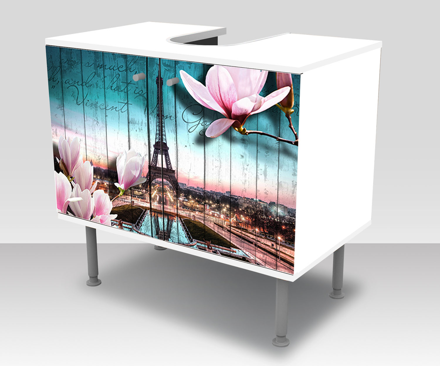 badunterschrank holz bl ten paris eiffelturm designschrank bad ebay. Black Bedroom Furniture Sets. Home Design Ideas