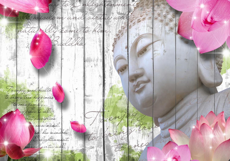 fototapete holz bl ten buddha tapete xxl wandbild. Black Bedroom Furniture Sets. Home Design Ideas
