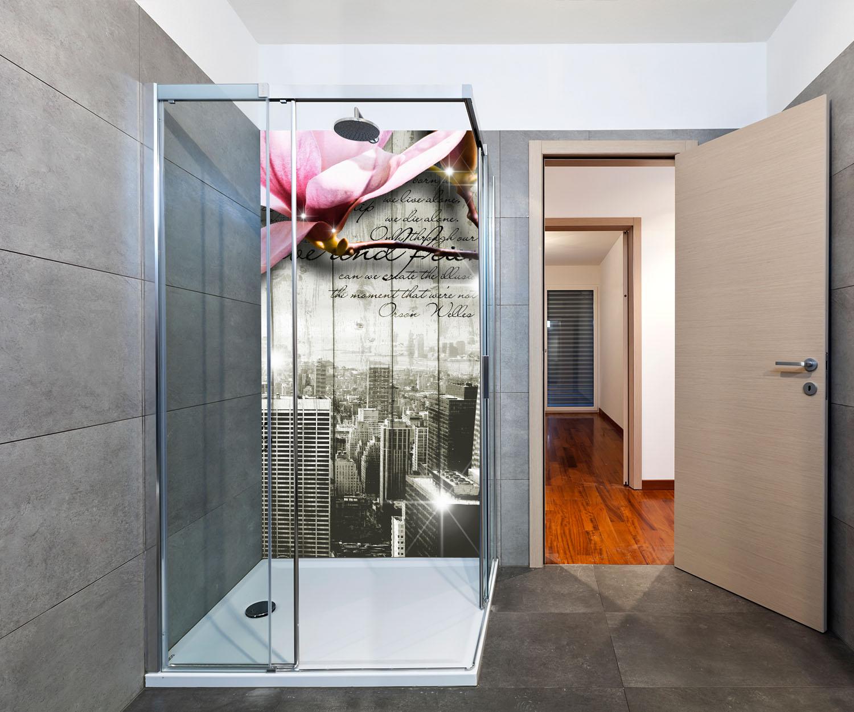 duschr ckwand style new york bl ten deko design ebay. Black Bedroom Furniture Sets. Home Design Ideas