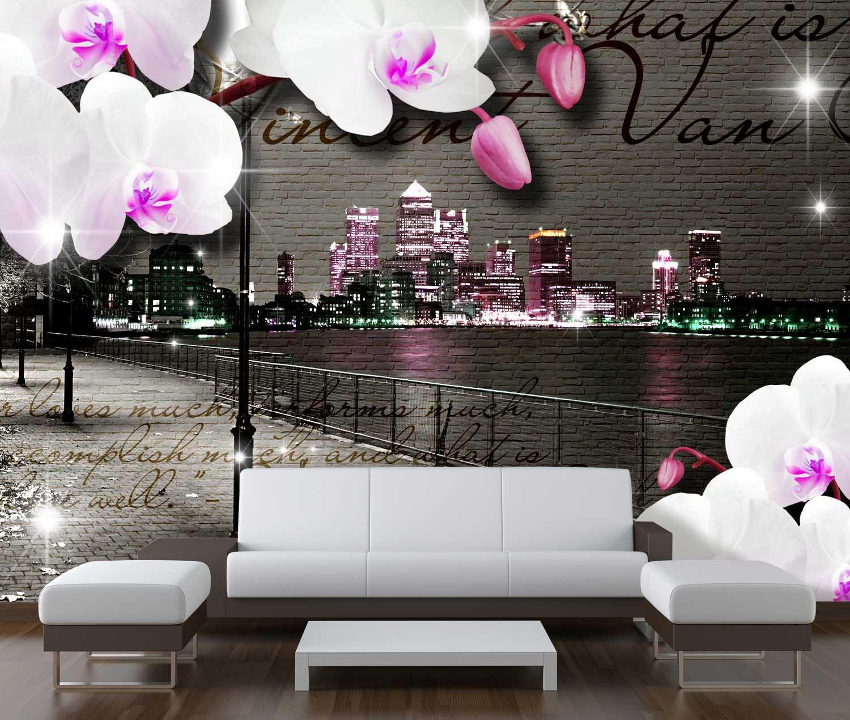 fototapete klinker vintage bl ten modern tapete kunstdruck wandbild ebay. Black Bedroom Furniture Sets. Home Design Ideas