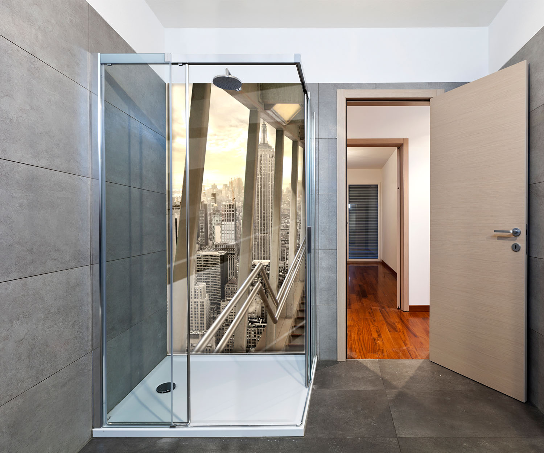 duschr ckwand treppen in new york deko design ebay. Black Bedroom Furniture Sets. Home Design Ideas