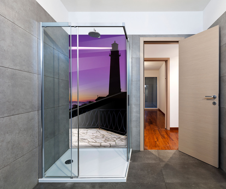 duschr ckwand blick vom balkon leuchturm bei nacht deko design ebay. Black Bedroom Furniture Sets. Home Design Ideas