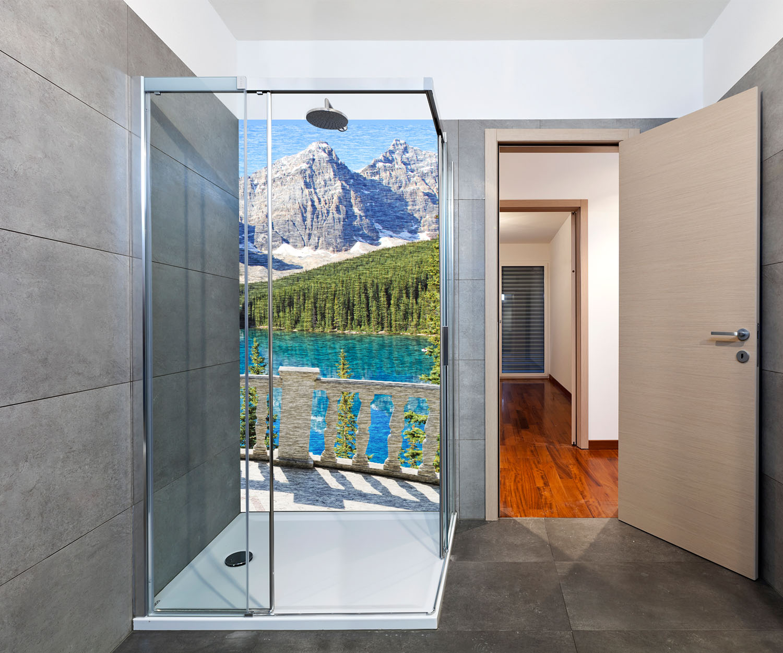 duschr ckwand blick vom balkon see und berge landschaft. Black Bedroom Furniture Sets. Home Design Ideas