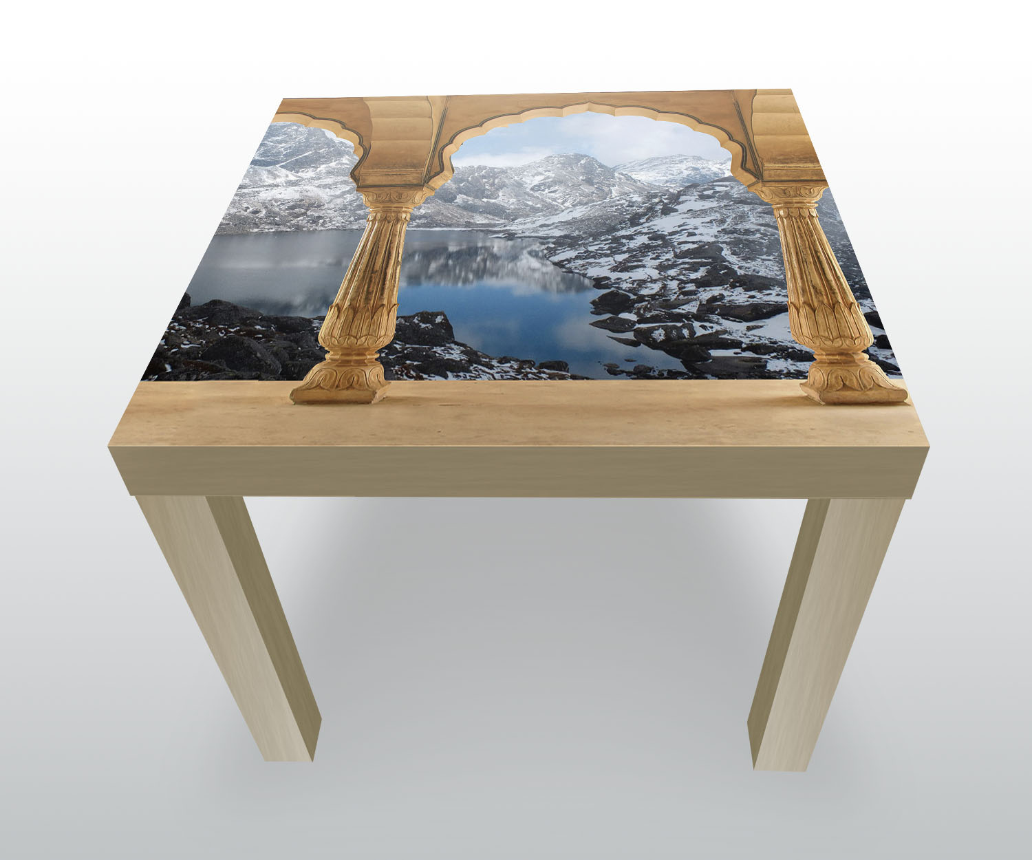 side table column snowy mountains landscape design table ebay. Black Bedroom Furniture Sets. Home Design Ideas