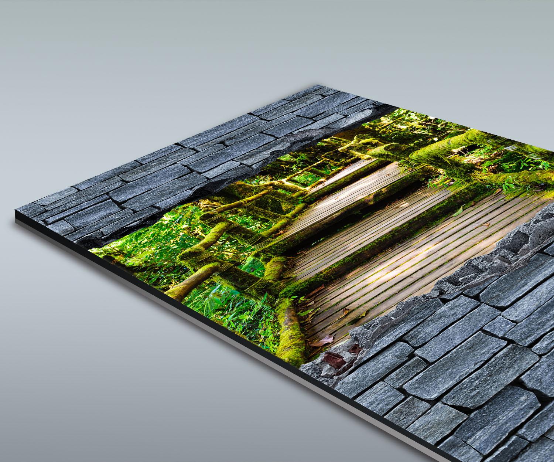 duschr ckwand 3d optik holztreppen im urwald grobe steinmauer deko design ebay. Black Bedroom Furniture Sets. Home Design Ideas