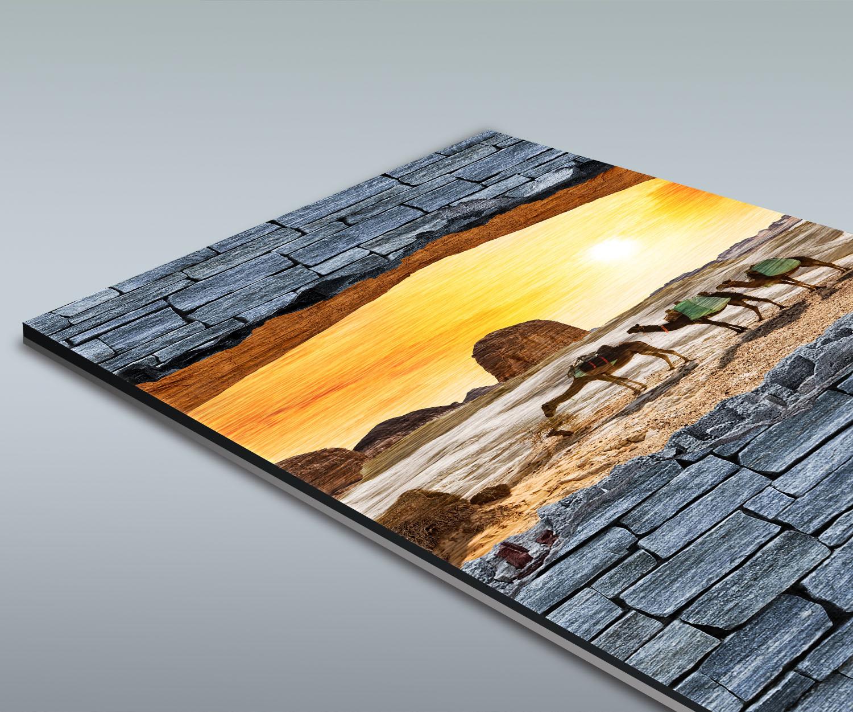 duschr ckwand 3d optik kamele in der w ste grobe steinmauer deko design ebay. Black Bedroom Furniture Sets. Home Design Ideas