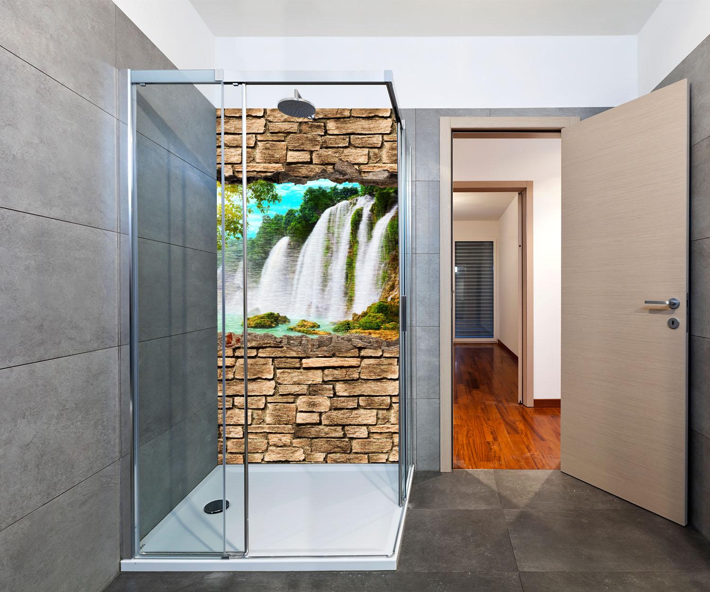 duschr ckwand 3d optik wasserfall steinmauer deko design ebay. Black Bedroom Furniture Sets. Home Design Ideas