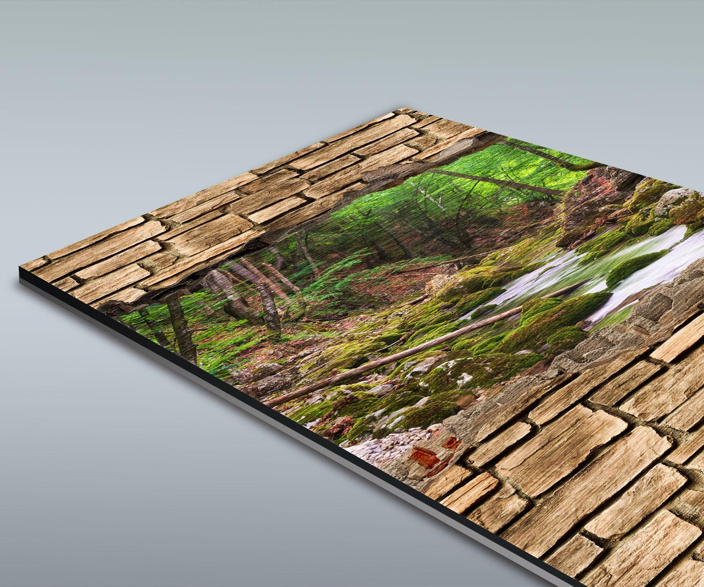 duschr ckwand 3d optik fluss im wald steinmauer deko design ebay. Black Bedroom Furniture Sets. Home Design Ideas