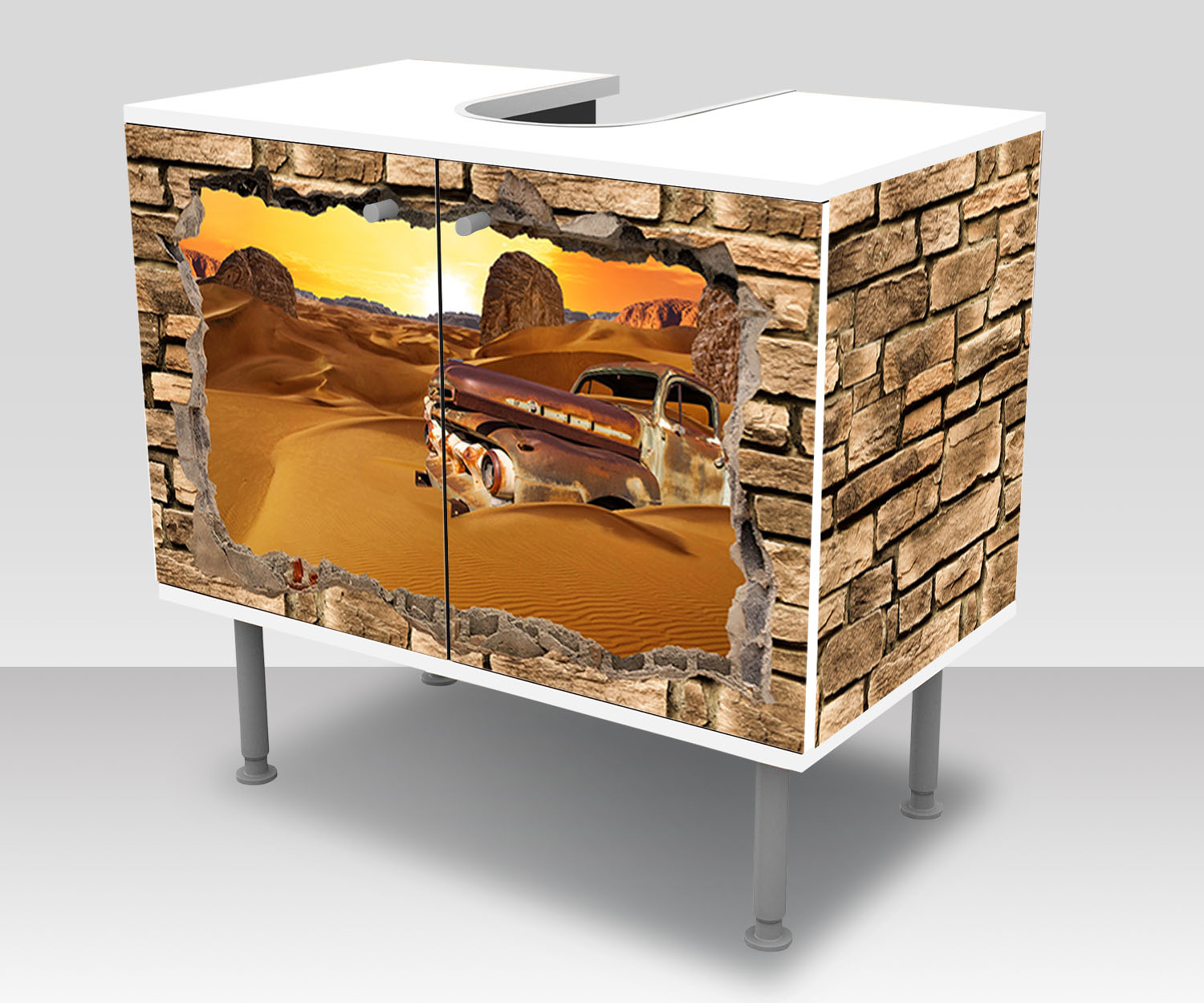badunterschrank 3d altes auto in der w ste steinmauer. Black Bedroom Furniture Sets. Home Design Ideas