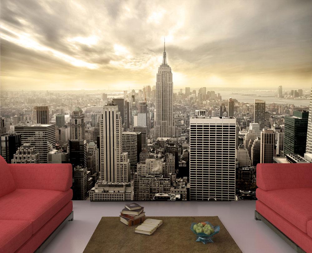 fototapete new york skyline view tapete kunstdruck wandbild ebay. Black Bedroom Furniture Sets. Home Design Ideas