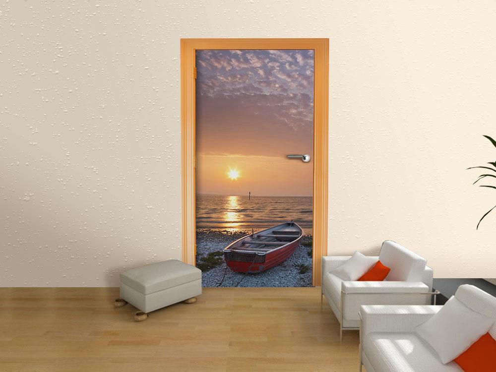 fototapete meer mit boot tapete kunstdruck wandbild ebay. Black Bedroom Furniture Sets. Home Design Ideas